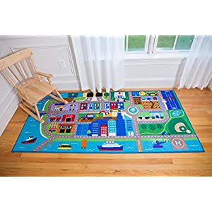 Wildkin Kids Cityscape Educational Play Rug for Boys and Girls, Measures 80×39 Inches, Durable Nylon Material, Features Skid-Proof Backing and Serged Borders, Perfect for Playrooms and Classrooms