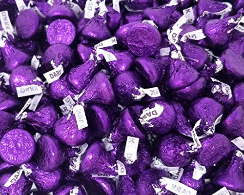 Hershey's Kisses Dark Chocolate Candy, Purple Foils, 2 lbs