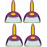 Mini Hand Whisk Broom and Snap-on Dustpan Set Available in Various Package Quantities (4, Small)