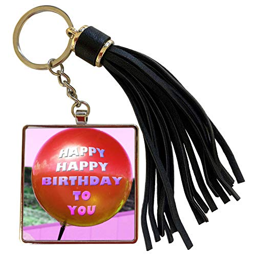 3dRose Jos Fauxtographee- Balloon Happy Birthday to You - A red balloon with pink and purple that says Happy Birthday to You - Tassel Key Chain (tkc_263350_1) (Images Of Balloons That Say Happy Birthday)