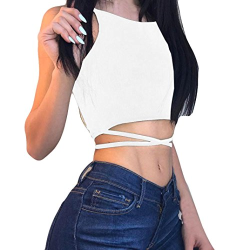 Price comparison product image Alixyz Womens Sexy Tank Crop Tops Cross Bandage Backless Sleeveless Vest Blouse T-Shirt (S,  White)