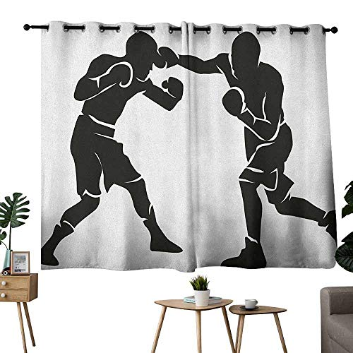 Mannwarehouse Sports Fashion Curtain Black Silhouettes of Professional Boxers Fighters Combative Exercise Punch Attack 70%-80% Light Shading, 2 Panels,63