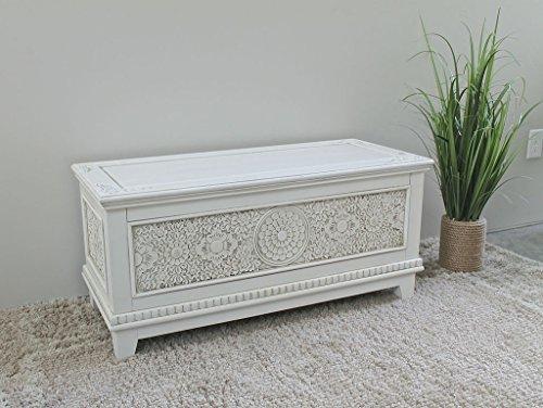 [International Caravan ZM-3817-AW-IC Furniture Piece Windsor Carved Wood Trunk] (Wood Carved Trunk)