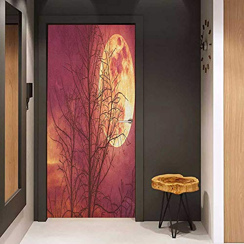 Onefzc Soliciting Sticker for Door Dark Red Night Sky Super Moon Behind Silhouette of Dead Tree Serenity Nature Mural Wallpaper W23.6 x H78.7 Dried Rose Yellow Brown