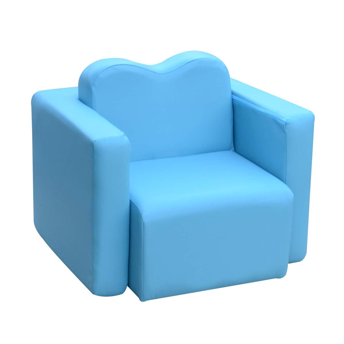 Lightweight Design Kids Sofa 2-in-1 Multi-Functional Children Table & Chair Set Living Room Furniture Armrest Couch for Boys & Girls Blue