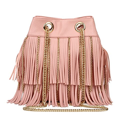 HIFISH HB125286C2 PU Leather Korean Style Women's Handbag,Vertical Section Square Fringed Bag
