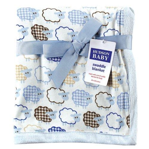 Hudson Baby Sheep Printed Blanket with Plush Backing, Blue