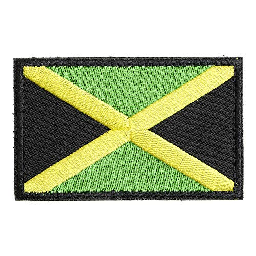 New-Hi Full Embroidery Jamaica American Countries Flag Morale Patch Applique Sewing Badge Armband Fabric Cloth with Hook and Loop ()