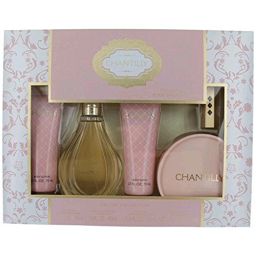 Dana Chantilly Set for Women, Body Lotion, Body Wash, Dusting Powder & Refillable Spray, EDT Spray 3 oz