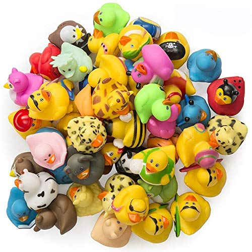 Kicko Rubber Ducks - 50 Assorted Pieces - 2 Inches - for Kids, Party Favors, Birthdays, Baby Showers, Baby Bath Toys, Bath Time, Easter Party Favors, and More - 50 Pack ()