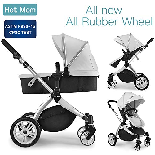 Infant Toddler Baby Stroller Carriage,Hot Mom Stroller 2 in 1 pram seat with Bassinet,Grey