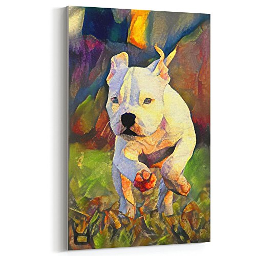 Westlake Art - Canvas Print Wall Art - Dogs Pitbull Puppy - Canvas Stretched Gallery Wrap - Modern Abstract Artwork Home Decor - Ready to Hang - 12x18in (37x 33f 2cc) (Nose Pit Bull Puppies Red)