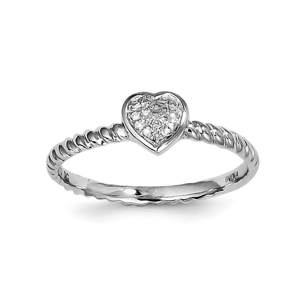 925 Sterling Silver White Diamond Stackable Ring Size 8 ( 0.05 ct )