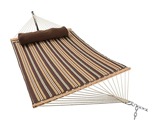 ELC 11 Feet Double Quilted Fabric Hammock with Pillow, Hammocks with Bamboo Spreader Bars and 2 Steel Chains, Perfect for Outdoor Patio Yard Hanging Hammock