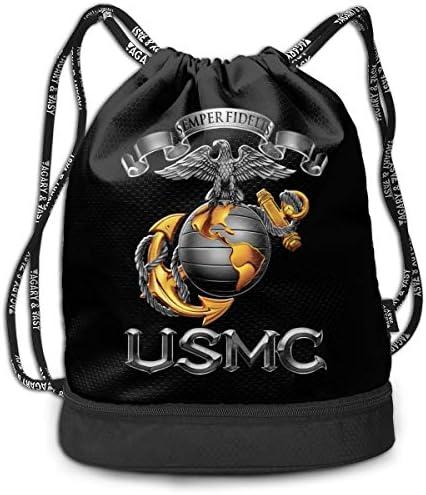 ジムサックバッグ スポーツバック アウトドア マルチバッグ ナップザック アメリカ海兵隊 巾着袋 靴入れ バックパック ナップザック 体操服収納 運動 旅行 部活用 男女兼用 軽量 防水