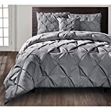 D&H 4 Piece Slate Grey Pintuck Comforter King Set, Gray Adult Bedding Master Bedroom Stylish Solid Color Pattern Puckered Diamond Design Geometric Tufted Elegant French Country Traditional, Polyester