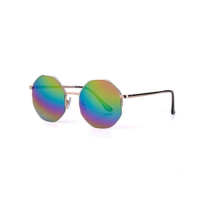 Amazon.com: Gafas de sol redondas de metal para mujer con ...
