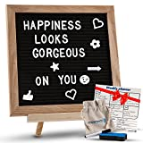 Changeable Black Felt Letter Board with Stand, Letters, Canvas Storage Bag, Wall Mount & Bonus Dry Erase Board. Premium 10x10' Oak Wood Frame Message Sign Board with Emojis. Perfect for Home & Office