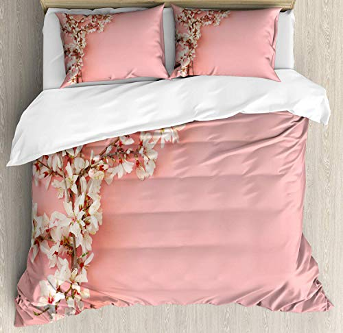King Almond Blossom 3 Piece Duvet Cover Set with 2 Pillow Shams Spring Cherry Blossom Tree on Pink Background Pastel Japanese Design Bedding Set with Zipper Closure & Corner Ties, Cream Pale Pink (Almond Cover Duvet)