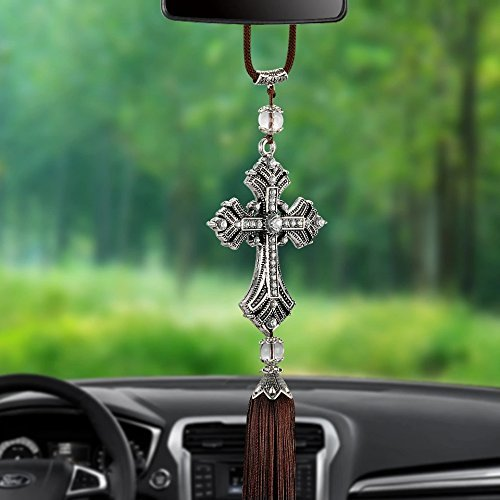 - Follicomfy Crystal Diamond Cross Jesus Christian Car Rear View Mirror Ornaments Hanging Auto Car Styling Accessories,White
