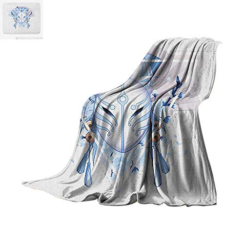 180 Blue Pant Fox - Luoiaax Kabuki Mask Throw Blanket Fox Mask Kitsune Japan Culture Theme with Triangle Sakura Flowers Print Artwork Image 90