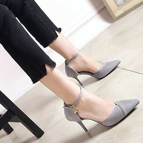 Elegant Heels All With Work Lady Grey Fine 34 Match Pointed Shoes Sandals A Hollow The MDRW Baotou Spring Belt Leisure 8Cm High wqSC8