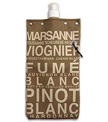 White Wine Design Water,Wine and Beverage Canvas Reusable Flask Bottle & Tote Carrier