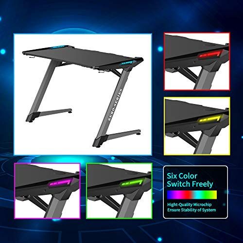 Kinsal Z-Shaped Gaming Desk Computer Desk Table with Fighting RGB LED Ambience Lighting and Large Size Mousepad, Racing Table E-Sports Durable Ergonomic Comfortable PC Desk (Grey) by Kinsal (Image #3)