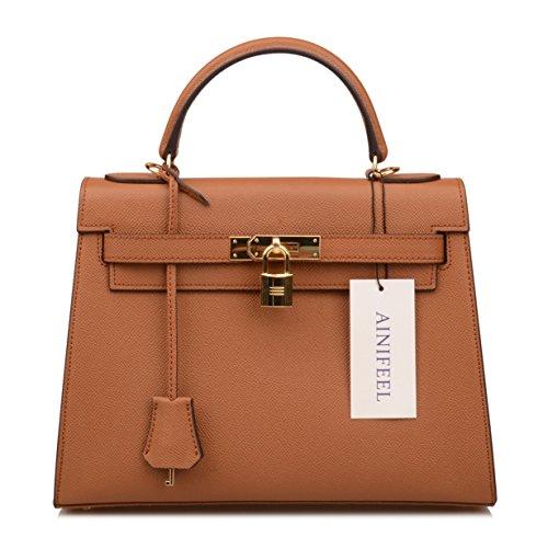 Purse B Women's Handbags Purse Satchel Padlock Hobo Brown Ainifeel Shoulder Bag YHqwvqA