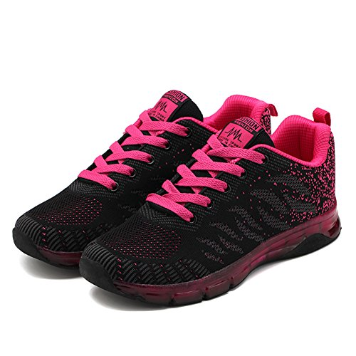 Gym De Running 35 Basket Mode Fexkean Course Fitness Rose Outdoor Fille Chaussure Rouge Sneakers Multisports Sport Noir Femme Basses 40 qwTxqX06