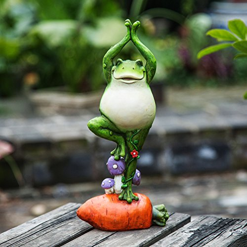 Ivy Home Garden Decoration Resin Statuary Yoga Frog Standing on the Carrot