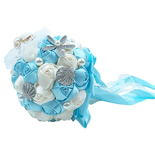 Abbie Home Beach Wedding Bridal Bouquet Holding Tossing Flower with Pearl Seashell and Rhinestone Decoration for Beach Wedding- Baby Blue