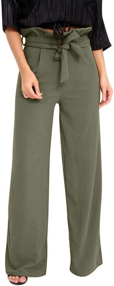 Pantalones De Mujer Cintura Ancho Cinturon Altavoz Alta Correa Modernas Casual Hoja De Loto Con Cinturon Color Solido Pantalon Casual Pantalones Amazon Es Ropa Y Accesorios