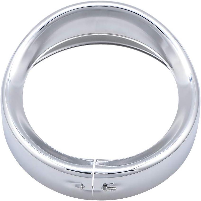 SODIAL 1 St/üCk 7 Zoll Scheinwerfer Zier Ring Scheinwerfer Lampe Visier Motorrad Scheinwerfer Chrom Dekorieren Kompatibel f/ür Touring Trike FL Softail FLD