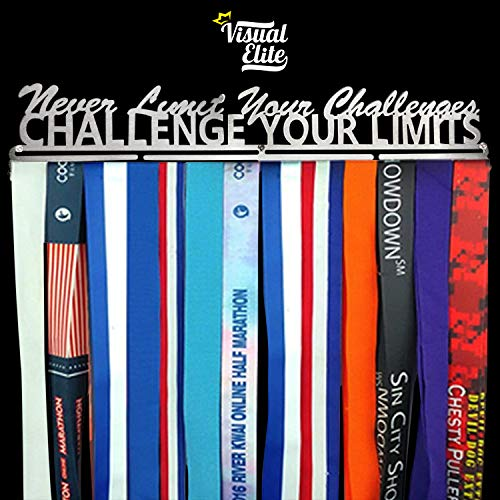 | Challenge Your Limits | Sports Medal Display Hanger | Hand-Forged Chrome Steel Design For Marathon, Running, Race, 5K, Wrestling, Jiu Jitsu, Spartan, Etc. | The Medal Hangers Collection