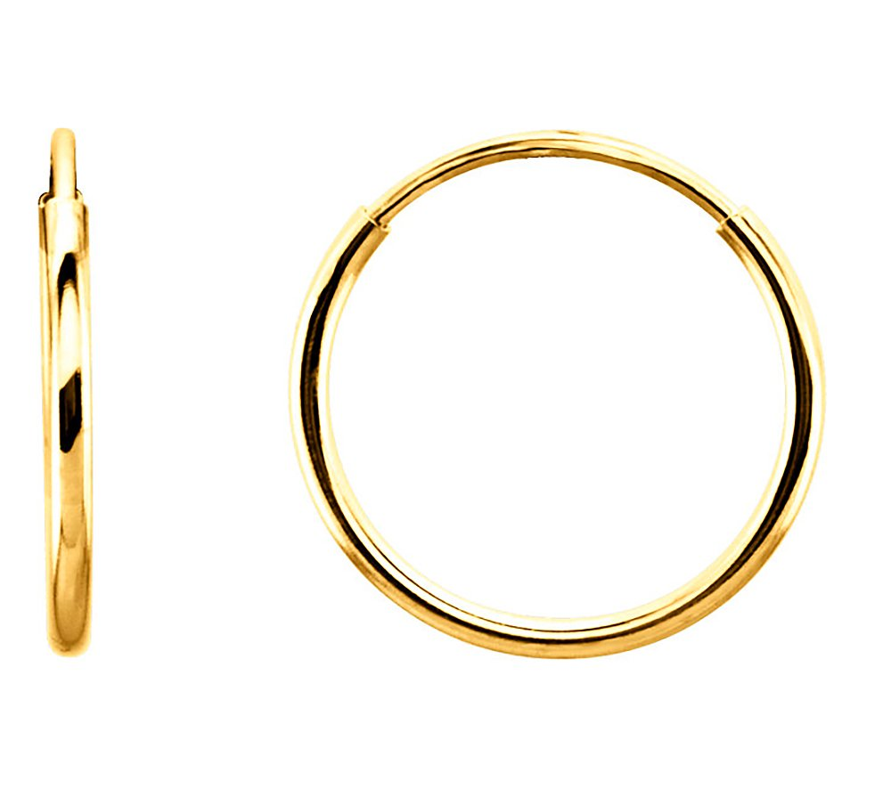14K Gold Continuous Endless Thin Wire Hoop Earrings (1mm Tube) cars_rs625