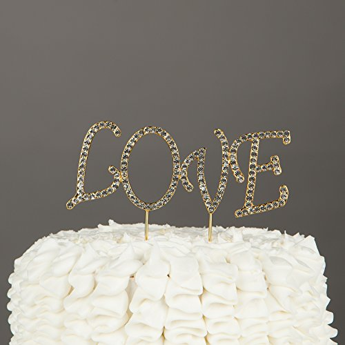 Love Wedding Cake Topper, Gold Metal Rhinestone Letters Decoration (Love - Gold Uppercase)