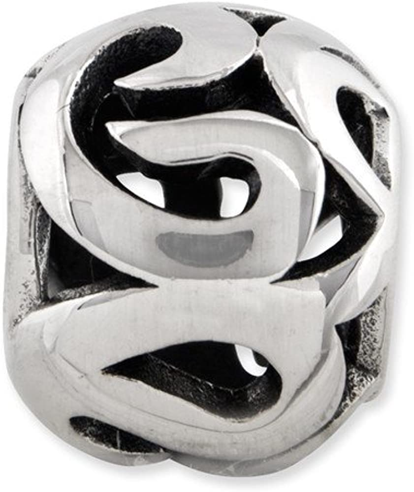 Sterling Silver Reflection Swirl Bali Solid Bead