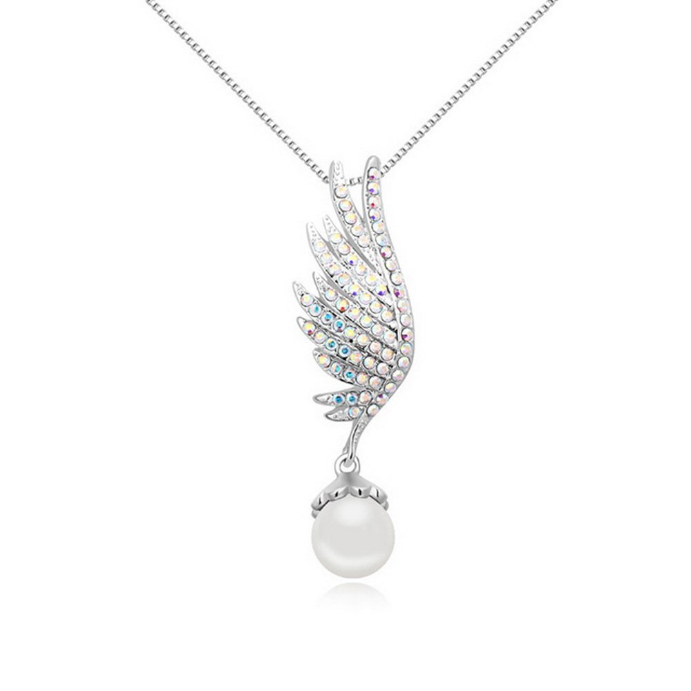 Alvdis Angel Wing Style Swarovski Crystal Pearl Pendant Necklace, 16 16 Copper QS-Necklace-812-16788-copper