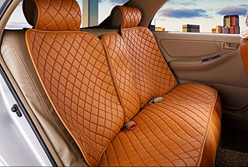18pc superior quality luxury Champagne Seat Covers imitation leather Seating Universal Full Set car seat cover Easy to install Fit Most Car by Maimai88 (Image #1)