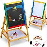 Kids Blackboard Wooden Chalkboard Children School Learning Board Table Easel Standing Drawing 2in1 Double Sided Board