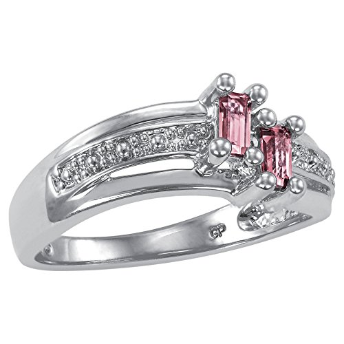 ArtCarved Love Moments Simulated Rose Zircon October Birthstone Ring, Sterling Silver, Size 9 by ArtCarved (Image #2)'