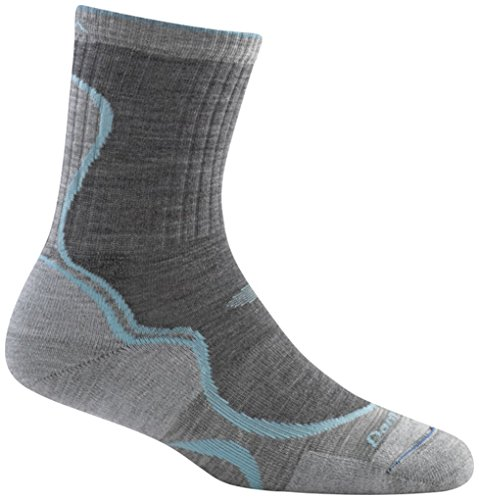 Cushion Womens Sock - Darn Tough Merino Wool Light Hiker Micro Crew Light Cushion Sock - Women's Slate/Seafoam Medium