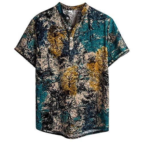 (Men's Tops Hawaiian Shirt Ethnic Short Sleeve Comfy Cotton Linen Printing Holiday Casual Blouse)
