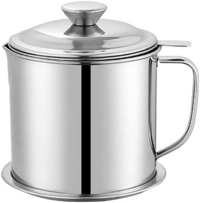Lnndong-The 1.3L stainless steel oil pot oil filter is equipped with stainless steel cover, filter screen and base, which can separate the oil from food or other liquids in the kitchen (arc handle)