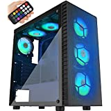 MUSETEX Mesh ATX Mid-Tower Computer Gaming Case with 6 PCS × 120mm LED ARGB Fans USB 3.0 Port Mesh Front Panel & Tempered Glass PC Chassis(G05MN6-HW) (Color: G05MN6-HW-NEW ( white mesh panel+ 6PCS RGB fans+ remote))