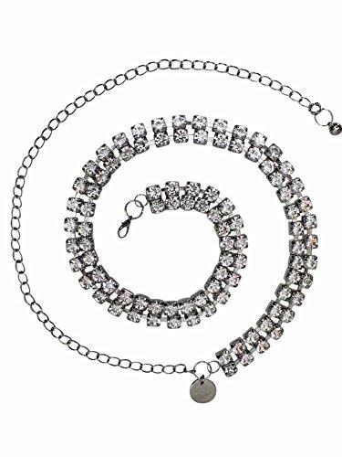Tone Link Silver Belt Chain (Silver Double Row Crystal Rhinestone Chain Link Belt)
