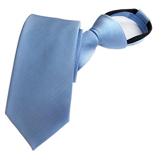 Elfeves Men's Sky Blue Tie Easily Zipper Silk Repp Neck Wear Best Gift ()