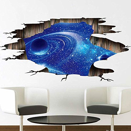 CNUSER Galaxy Planet Space Murals Wall Decal - Creative 3D Cosmic Milky Way Floor/Ceiling/Window Removable Wall Stickers Self-adhesive Wallpaper Decor for Home