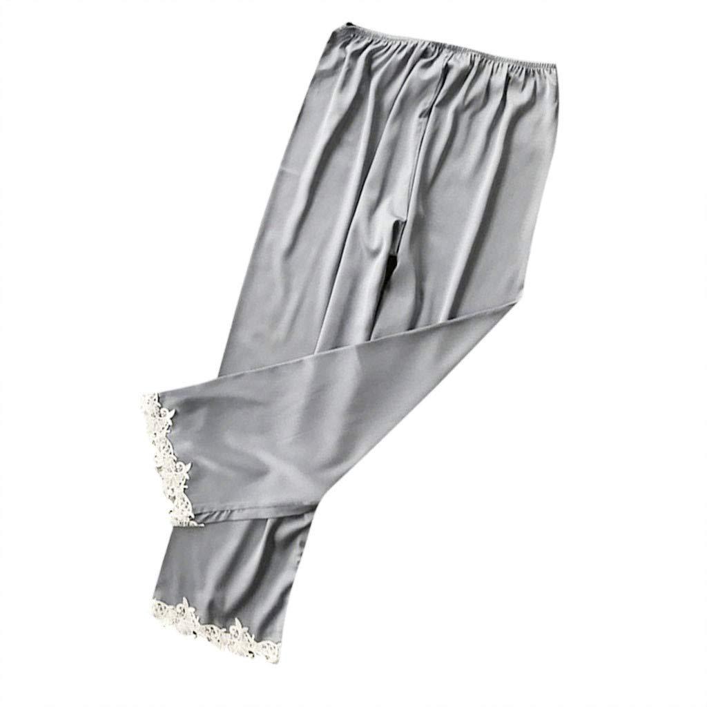 Women's Plus Size Long Sleep Pants Sexy Lace Stain Babydoll Night Underwear Comfortable Temptation Sleepwear Pants S-3XL (Gary, XXL)